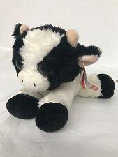 "Aurora DREAMY EYES COW Black & White Plush Animal Big Eyes 10"" Preowned W/Tags"