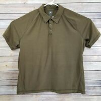 REI Mens Embroidered Short Sleeve Polo Shirt XL Olive/Brown 3 Snaps EUC Quality
