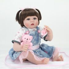 22'' Reborn Baby Girl Dolls Rooted Hair Lifelike Newborn Babies Xmas Vinyl Gift