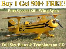 "Pitts Special 60"" WS Giant Scale Full Size RC Airplane Plans & Templates on CD"