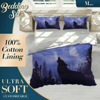 Howling Wolf Wild AnimalPurple Quilt Cover Queen Size Single Double King