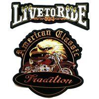 2PCs Live To Ride American Eagle Harley Davidson Large Iron On Vest Jacket Patch