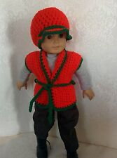 """Handmade doll sweater for 18"""" American Girl Doll Red and Green fits 18"""" doll"""