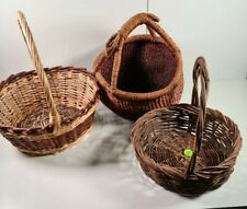 Job Lot of Wicker Baskets 3 x Handled Wicker Baskets Brown