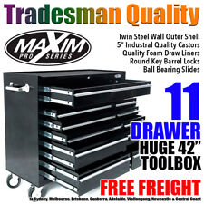 "MAXIM 42"" Black Tool Cabinet 11 Drawer Box Toolbox Chest Trolley Roller Garage"