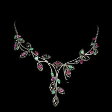 Oval Ruby 6x4mm Emerald Marcasite Sapphire 925 Sterling Silver Necklace 18 Ins