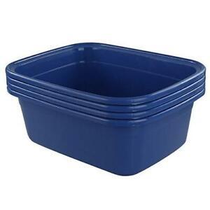 Morcte 4-Pack Washing Basin Dish Pan, 16 Quart Large Plastic Wash Basin, Blue