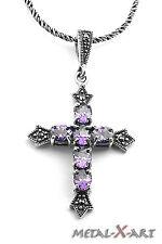 Kreuz mit Amethyst und Markasiten,  Ketten-Anhänger, Gothic,Sterling Silber 925