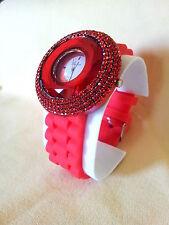 Women's Big Face Crystals Rhinestones Geneva Red Silicone Watch