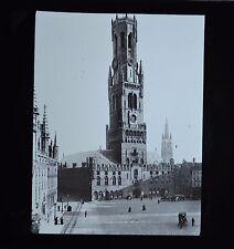 Magic Lantern Slide Photo Belgium Bruges Belfry & Market Place Newton & Co