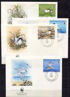S3726) Benin 1989 MNH Wwf, Birds 4v FDC