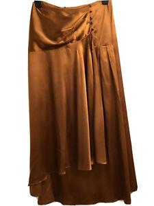 ASOS, Satin Slip Midi Skirt, In Copper, Size 10/38, NEW