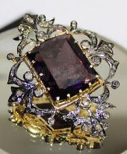 Victorian Look Silver Brooch Pin 4.20ct Rose Cut Diamond Amethyst Antique