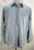 Vintage 90's Ralph Lauren BLAKE Blue Denim Jean Red Pony Button Down Shirt Large