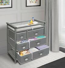 Modern Baby Changing Table Dresser 6 Storage Baskets Changing Pad Drawers Grey