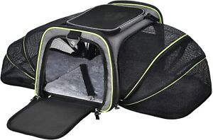 Pet Carrier 2 Sides Expandable Foldable Soft Sided 5 Open Doors Removable Fleece