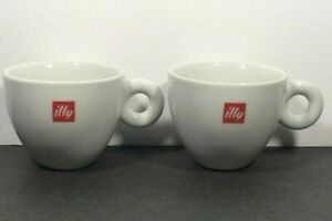 (2) Illy Logo White Red Cappuccino Coffee Cups / Mugs Pair 6oz