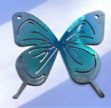 """Small Butterfly 5"""" Metal Wall Art Decor  Teal Tainted"""