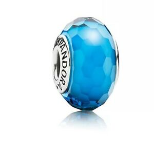 Genuine Pandora Charm Sterling Silver CERULEAN Blue Faceted Murano Glass 791607
