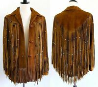 Womens Cowboy Jackets Suede Leather Fringes Beaded Western Native American Coats