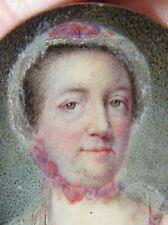 """Fine Antique Portrait Miniature Painting Lady Modest School 1760 1 1/2"""" Framed"""