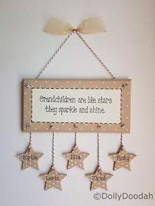 Personalised Soft Beige Grandchildren Like Stars Plaque Gift Present Nanny