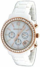 NEW-MICHAEL KORS WHITE CHRONOGRAPH,CRYSTAL,WHITE DIAL RESIN BAND WATCH MK5214