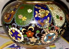 Old Chinese Antique 3-Footed Cloisonné Bowl Black Floral Design