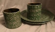 Handmade Artisan Artist Signed Pottery Green Specked Plates & Mugs Gift Speckled