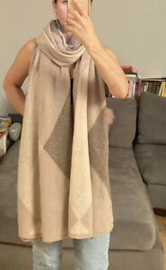 $179 Stunning Charter Club 100% Cashmere Beige Wide Scarf Over Sized Scarf NWOT