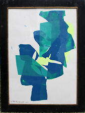 """Serge Poliakoff (Rus-frz) """"Composition in blau,grün .."""" Siebdruck-Pap. dat. 1961"""