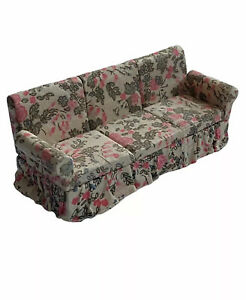 Vintage Dollhouse Miniature Sofa Couch Floral 1:12 Rose Pink Upholstered MCM