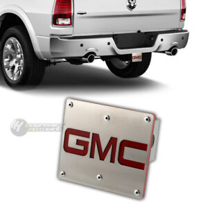 """GMC Logo Brushed Stainless Steel Hitch Cover Plug For 2"""" Trailer Tow Receiver"""