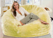 Large Luxe Faux Fur Soft Plush Beanbag Cover Bean Bag Chair Lemon Yellow Green