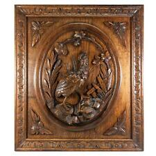"""Antique Black Forest Carved Game Plaque, Wood Panel 25""""x22"""", Wall or Cabinetry"""