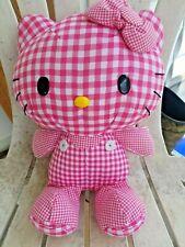 "Vtg Jakks Hello Kitty By Sanrio 1976 Pink Plaid Gingham Plush 12"" Stuffed Doll"