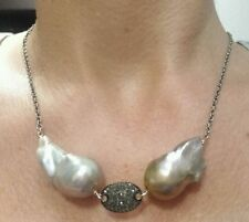 Nucleated Flameball pearl  .8ct pave diamond tag 925 silver necklace pendant