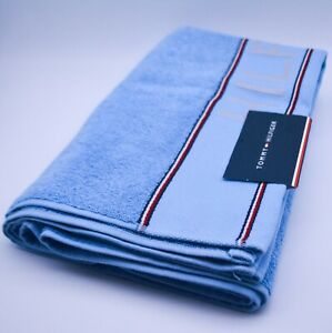 Tommy Hilfiger Bath Towel In Blue Cotton Designer Logo Branded New With Tags