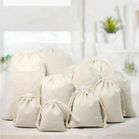 1X All Size Bag Cotton Linen Pouch Drawstring Burlap Jute Sack Jewelry Bags Gift