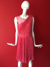 Warehouse Pink Pleated Fit Flare Mesh Chiffon Sleeveless Party Dress 14 BNWT £65