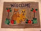 VERY NICE OLD HOOKED RUG WITH TWO CATS AND FLOWERS - VERY COLORFUL