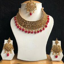 RED GOLD INDIAN MUGHAL KUNDAN JEWELLERY NECKLACE EARRINGS CRYSTAL SET NEW 334