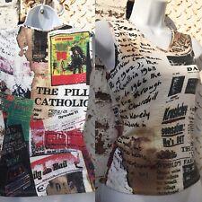 Vintage Just Cavalli top vest Roberto Cavalli newsprint clubbing 1990s BNWT 4-6