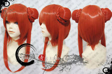 Gintama Kagura Short Straight Ponytail Orange Cosplay Party Wig Hair YF109