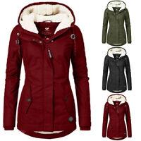 Women's Coat Fur Lined Trench Winter Warm Outwear Jacket Hooded Parka Overcoat