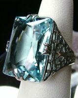 30ct Huge*Aquamarine* Sterling Silver Vintage/Deco Filigree Ring {Made To Order}