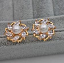 18K Yellow Gold Filled - Topaz Zircon Windmill Pearl Wedding Party Lady Earrings