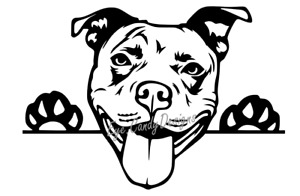 vinyl sticker decal car wall staffy Staffordshire bull terroir peaking dog cute