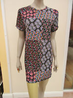 V - Very - Black / Multi Floral Short Sleeved Shift Tunic / Mini Dress - size 10