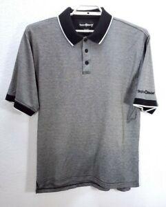 Men's Taylor Made Black White Polo Shirt Short Sleeve Cotton Sz XL